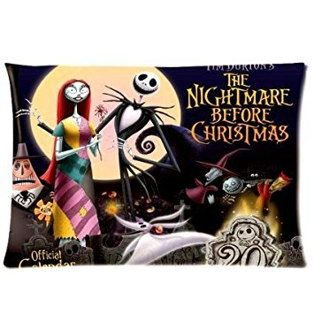 ABCHomes Coolest Nightmare Before Christmas Figure Pillowcase Zippered Pillow Case 20x30 Cotton Standard Size(Twin sides)