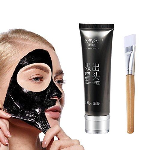 MIYAY Blackhead Peel Off Black Mask Mud Face Mask Purifying Tearing Mask With Soft Mask Brush (80g) - Face Off Mask