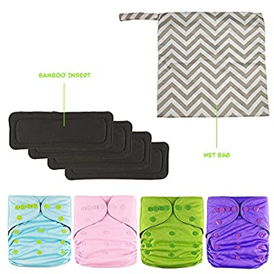 EcoDiaper Set | 4 pcs Reusable Washable One Size Baby Nappy Cloth with 4 Absorbent Bamboo Charcoal Inserts and Wet Bag | Soft Cotton Breathable TPU with Adjustable Snap | Blue Green Pink Purple | 951