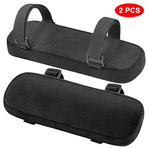 INTSUN Armrest Pad 2Pcs Padded Armrest Cushion Universal Arm Rest Pads with Adjustable Velcro Straps Elbow Pillow Memory Foam Arm Chair Covers for Office Chairs, Wheelchair, Comfy Gaming Chair (Black)