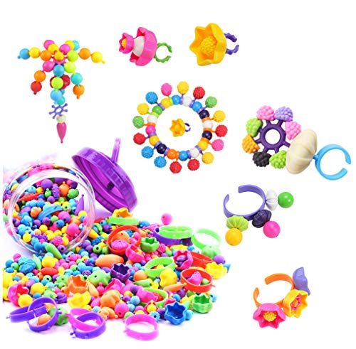 Trooer 260 Pcs Snap Pop Beads Set for Kids, Pop Beads DIY Jewelry Bracelet and Necklace Making Kit Art and Crafts Toys for Kids