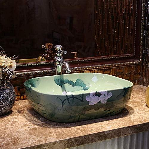 Yadianna 手作りの青い蓮アート洗面台セラミックカウンタートップ洗面芸術の磁器セラミック洗面台浴室のシンク