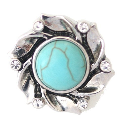 Chunk Snap Charm Turquoise Center Crystal Border 22mm ()