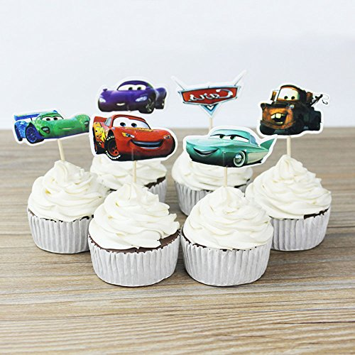 Cars Themed Cupcake Toppers Party Pack for 24 Cupcakes -