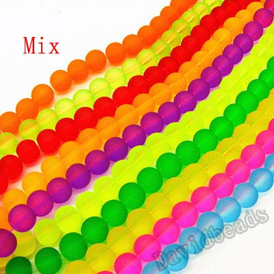(Calvas Fctory Price Mix Color Dull Polish Fluorescent Round Iridescent Neon Glass Spacer Beads for DIY Necklace&Bracelet DIY - (Color: Mix, Item Diameter: 8mm 105pcs 1lot))