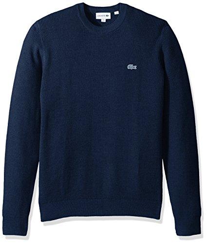 Lacoste Men's Long Sleeve Blue Pack Crew Neck Waffle Stitch Sweater, INDIGOTIER, Medium