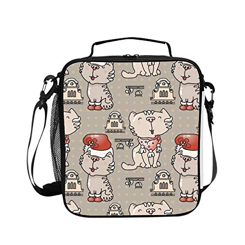 Lunch Bag Insulated Lunchbox Cooler Pouch Shopper Tote Cute Cats With Santa Hat Portable Fashion Handbag for Work