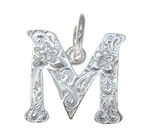 (Arthur's Jewelry 925 sterling silver Hawaiian plumeria scroll initial letter M pendant)