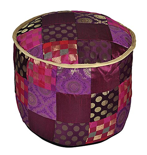 Patchwork Silk Ottoman Floor Cushion Cover 17 X 17 X 13 Inches by Lalhaveli