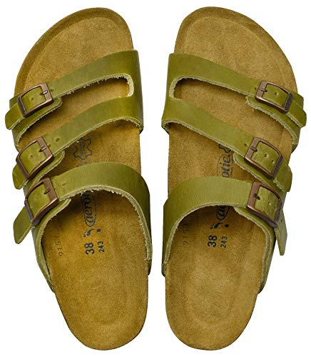 Cork Sole Sandals - AEROTHOTIC - Genuine Suede Leather and Cork Footbed Sandals for Women (US-Women-8, Maiden Green)