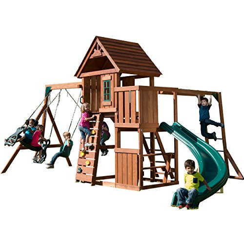 Sun Palace Cedar II Swing and Play Set with Two Swings, Wave Slide, Ring/Trapeze Bar, Rock Climbing Wall, Monkey Bars, Tire Swing, and More! from Gorilla Playsets