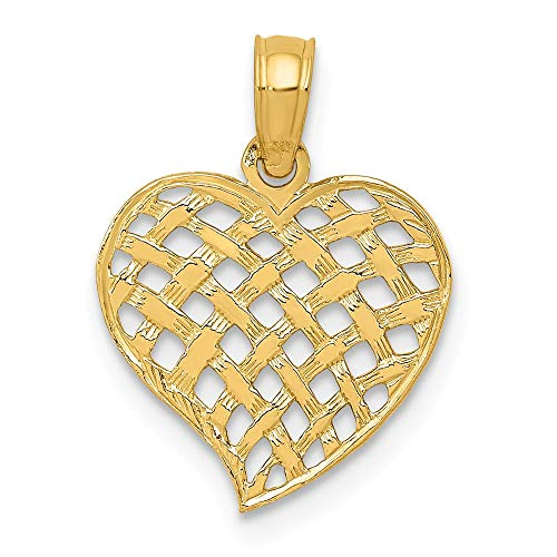 14k Yellow Gold Basket Weave Pattern Heart Pendant Charm Necklace Love Fine Jewelry Gifts For Women For Her