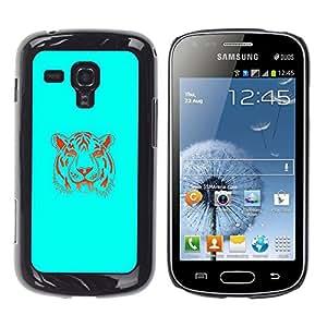 TaiTech / Prima Delgada SLIM Casa Carcasa Funda Case Bandera Cover Armor Shell PC / Aliminium - Neon Blue Tiger - Samsung Galaxy S Duos S7562