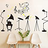 Stylish Rock Music Room Wall Sticker House Decal Removable Living Room Wallpaper Bedroom Kitchen Art Picture PVC Murals Sticks Window Door Decoration + 3D Frog Car Sticker Gift
