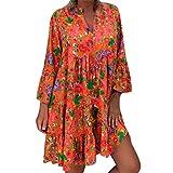 Women Casual Dresses V Neck Boho Floral Long Sleeve Short T-Shirt Dress Button Swing A-line Ruffle Hem Mini Dress Red