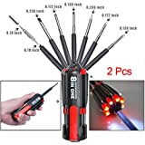 8 in 1 Multi-Screwdrivers with Flashlight,STARRICH Portable LED Torch Light Up Repair Tools Set (Screwdriver 2pcs)