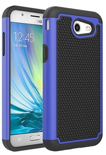 Galaxy J3 Emerge Case, Galaxy J3 Eclipse Case, J3 Prime Case, J3 Mission Case, Galaxy Express Prime 2 Case, Dual Layer Drop Protection Hybrid Armor Phone Case for Galaxy J3 2017 (Black Blue)