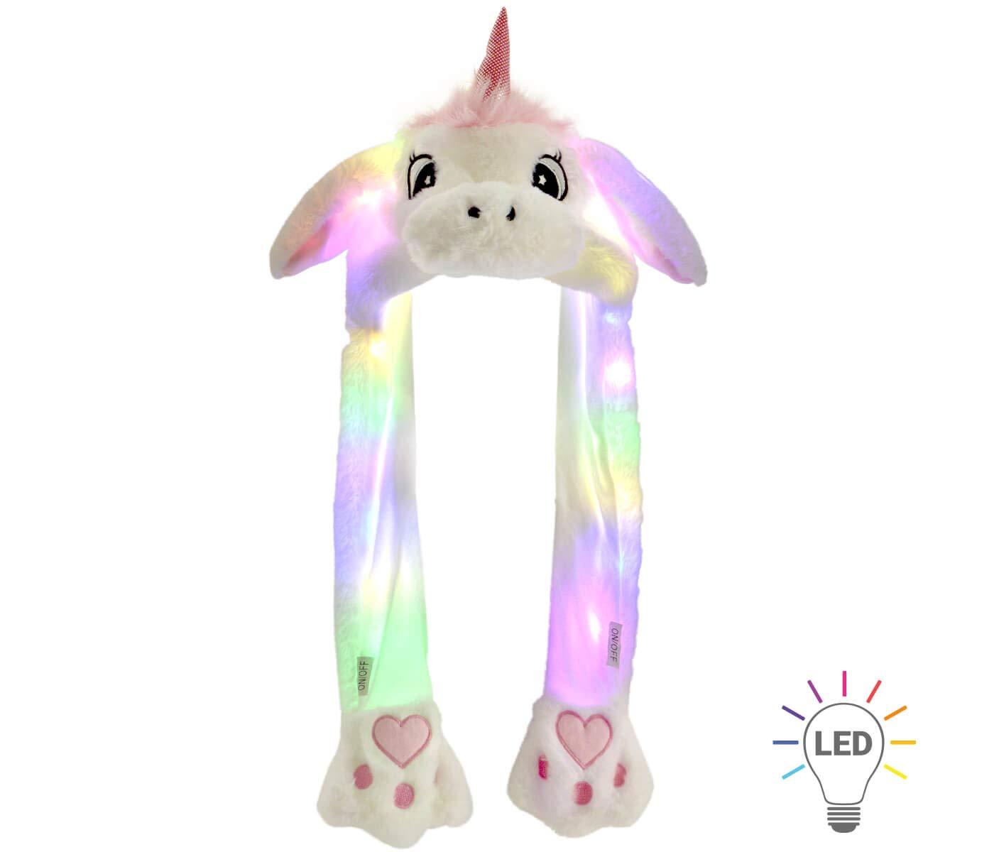 Alsino Divertente Cappello Unicorno con Luci LED Peluche in Bianco Che muove Le Orecchie Cappuccio Taglia Unica per Bambini Berretto Accessorio Invernale con Orecchi Mobili