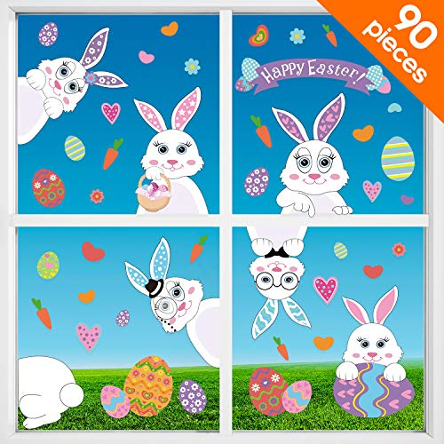 Blulu 90 Pieces Easter Decorations Easter Eggs Bunny Stickers Easter Window Stickers Bunny Decals Easter Door Floor Window Decor Home Party -