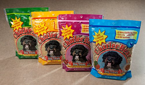 Charlee Bear 16 oz Variety Pack 1 of Each Liver, Liver/Cranberries, Egg & Cheese, Chicken Soup & Garden (Charlee Bear Training Treats)