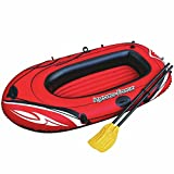 Hydro Force Inflatable Rubber Vinyl Dinghy Boat 1 Person Pool Raft Paddle Oars Set Easy Transport and Storage 62'x40' – Red