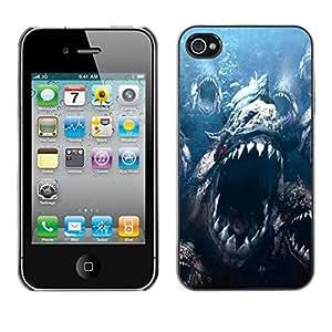 PC/Aluminum Funda Carcasa protectora para Apple Iphone 4 / 4S Sea Monster Big Teeth Ocean Fish Blue Marine / JUSTGO PHONE PROTECTOR