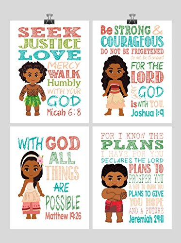 Moana Christian Nursery Decor Wall Art Set of 4 Prints - Moana, Tui, Maui and Sina - Bible Verse - Multiple Sizes