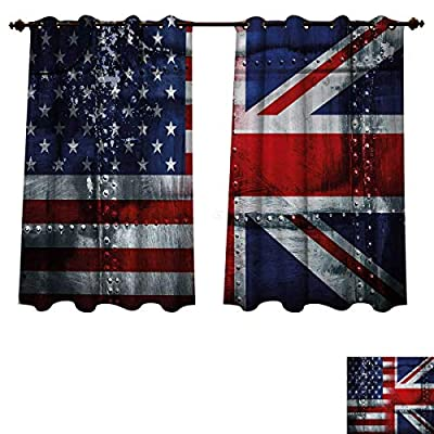 Anzhouqux Union Jack Bedroom Thermal Blackout Curtains Alliance Togetherness Theme Composition of UK and USA Flags Vintage Drapes for Living Room Navy Blue Red White