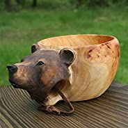 Kuksa Hand Carved Wooden Mug- Kuksa Guksi Animals Head Image Cup, for Travelers, Outdoor Camping, and Bushcraf