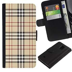 KLONGSHOP / Tirón de la caja Cartera de cuero con ranuras para tarjetas - Fashion Brand Fabric Pattern Style Brown Classic - Samsung Galaxy S5 Mini, SM-G800, NOT S5 REGULAR!