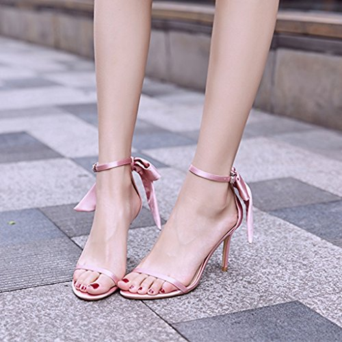 sandals 5cm casual Color bows shoes Champagne Women Size high 36 shoes fine Pink heels student with 8 sexy wCXqOId7w