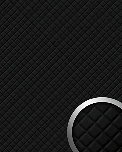 WallFace 15029 ROMBO Wall panel self-adhesive Leather design plaid Luxury wallcovering wallplate black | 2,6 sqm by Wallface (Image #1)'