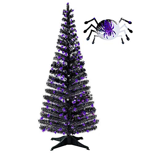 Halloween Party Supplies-5FT Pop Up Tinsel Branches Trees with Plump Spider Sequin,Collapsible Artificial Halloween Xmas Black Tree with Plastic Stand for Haunted House,Office Classroom Party -