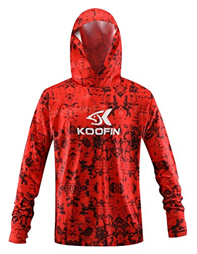 Performance Fishing Hoodie Long Sleeve Hooded Sunblock Shirt UPF 50 Dry Fit Quick-Dry Hoody Sports Sweatshirt Orange