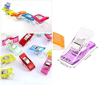 [Gesponsert]ilauke 60 Stoffklammern Wonder Clips Mehrfarbig Nähen Zubehöre Kunststoff Patchwork Buckle Multi-Use Nähmaschinenhelfer Kurzwaren (60 Mischung)