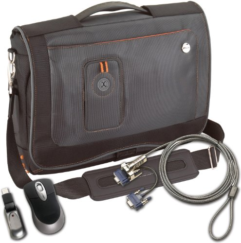Targus Back to School Case Bundle: Urban Messenger Case, Optical Mouse and DEFCON VPCL Video Port Combo Lock (BUS0003)