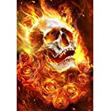 DIY 5D Diamond Painting Full Round Drill Kit Rhinestone Picture Art Craft for Home Wall Decor 12x16In Flame Skull