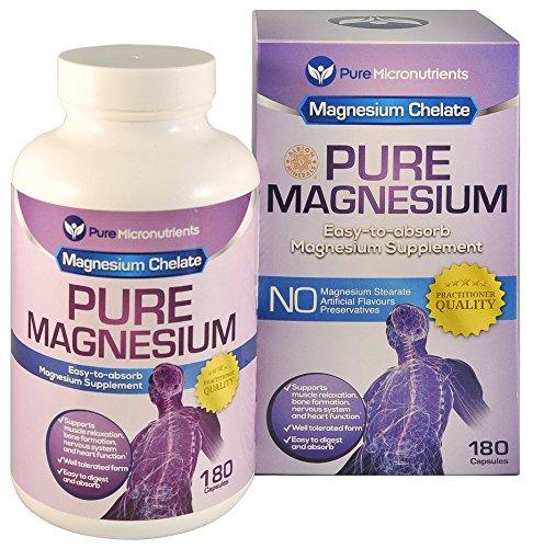 Magnesio puro - glicinato de magnesio Premium suave (Albion quelatado magnesio), 200mg, 180 cuenta