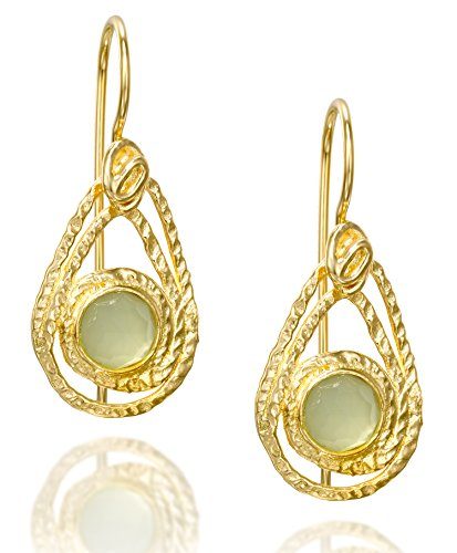 Teardrop Earrings in 14k Gold Plated Sterling Silver With Light Green Created Quartz & Secure Backs ()