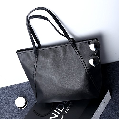 Leather Bag Large Work Zipper Tote Black Bag Handbag Satchel Bag Women Women��s for Shoulder r7B6raqw