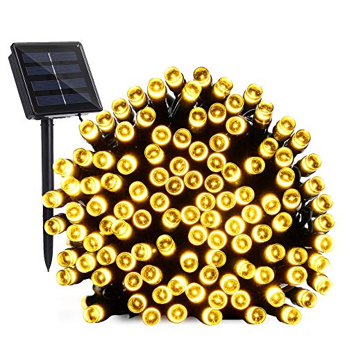 BrizLabs Solar String Lights 72ft 200 LED 8 Modes Solar Powered Fairy Lights Waterproof Outdoor Decorative Lighting for Garden Patio Home Wedding Party Lawn Xmas Tree Decor, Warm White