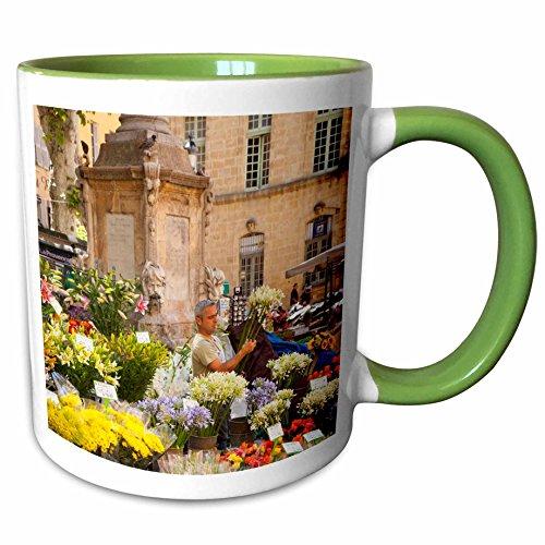 Aix En Provence Christmas Market - 3dRose Danita Delimont - France - Selling flowers, market, Aix-en-Provence, France - EU09 BJN0045 - Brian Jannsen - 11oz Two-Tone Green Mug (mug_135847_7)