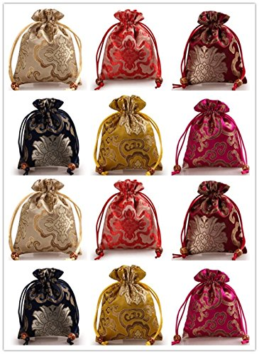 2500 Silk Brocade Sachet Candy Drawer Pouch Jewelry Travel Drawstring Coin Purse Bag H7.5