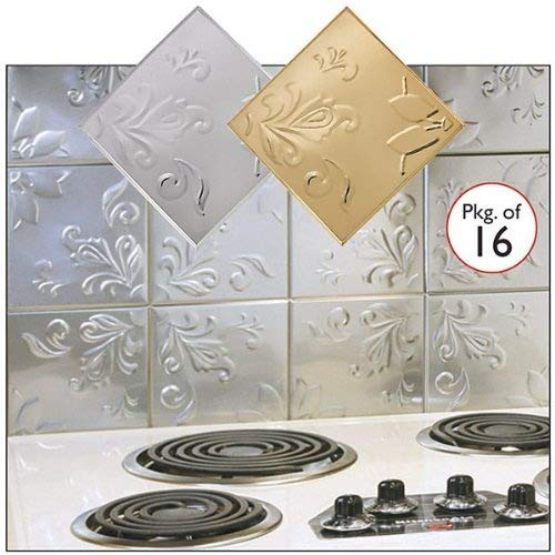 (Self Adhesive Decorative Copper Embossed Floral Design Tin Tiles - 6