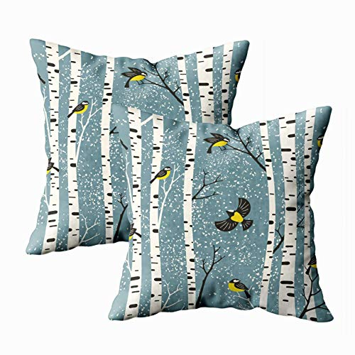 - Musesh Mom Pillow Cover, Pack of 2 Snowy Birch Trees and Birds Light Blue Background Pattern Perfect Fabric Design Wallpaper giftwrap Postcard for Sofa Decorative Pillowcase 18X18Inch Pillow Covers