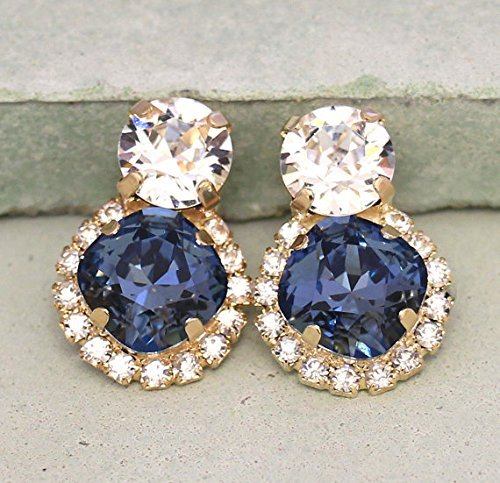 96769cdac55ad Amazon.com: Navy Blue and Clear Crystal Drop Stud Bridal Earrings ...