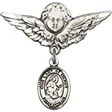 Sterling Silver Baby Badge with Our Lady of Mercy Charm and Angel w/Wings Badge Pin 1 1/8 X 1 1/8 inches