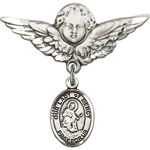Sterling Silver Baby Badge with Our Lady of Mercy Charm and Angel w/Wings Badge Pin 1 1/8 X 1 1/8 inches by Unknown