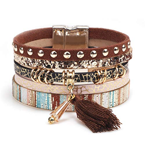 MallDou Jewelry Handmade Coloful Leather Cuff Bracelet Wrap Bangle Boho Bracelets with CZ for Women Teen Girl Boy Gifts (Brown)
