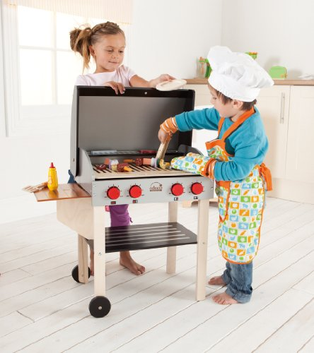 [Hape BBQ and Shish Kabob Cookout Set Kid's Wooden Kitchen  Play Food Set and Accessories] (Cook Shish Kabob)
